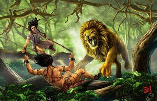 Бесплатные фото лев, охотники, фэнтези