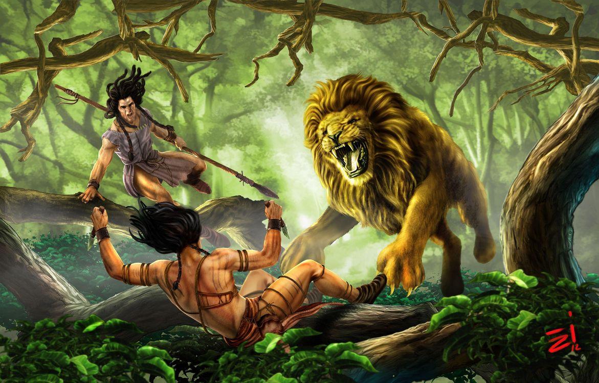 Фото бесплатно лев, охотники, фэнтези - на рабочий стол