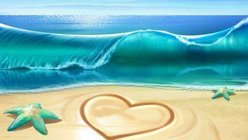 Бесплатные фото море,горизонт,волна,берег,песок,рисунок,сердце