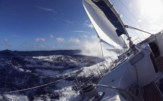 Заставки море,парус,океан,вода,волны,брызги,палуба