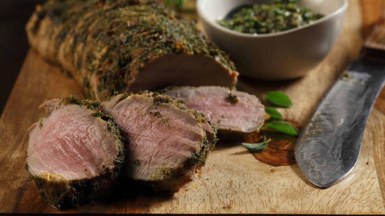 Фото бесплатно мясо, приправа, нож - на рабочий стол