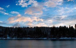 Бесплатные фото небо,вода,река,озеро,снег,лес,елки