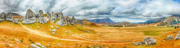 Бесплатные фото новая зеландия,замковая гора,южные альпы,скалы,долина,трава,пейзажи