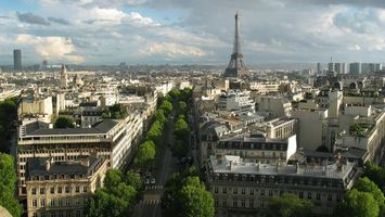 Фото бесплатно париж, эйфелева башня, дома