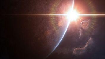 Бесплатные фото планета,спутники,звезда,восход,лучи,солнца,новые