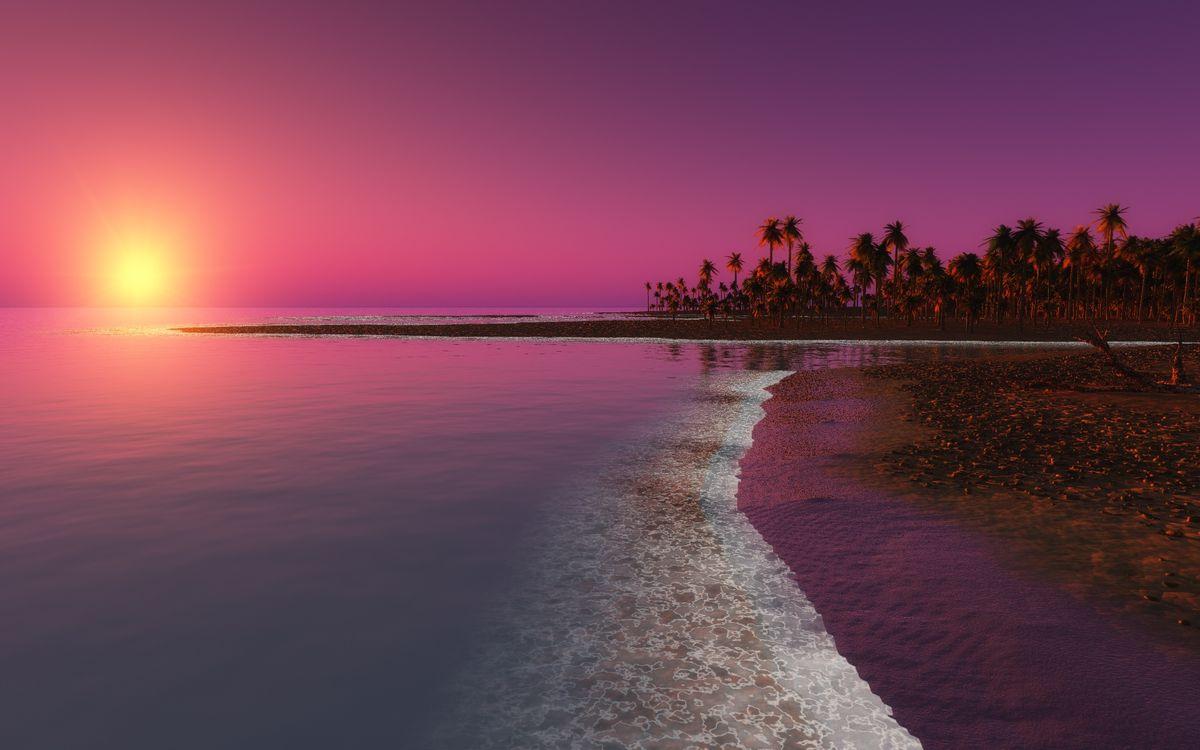 Фото бесплатно солнце, небо, берег - на рабочий стол