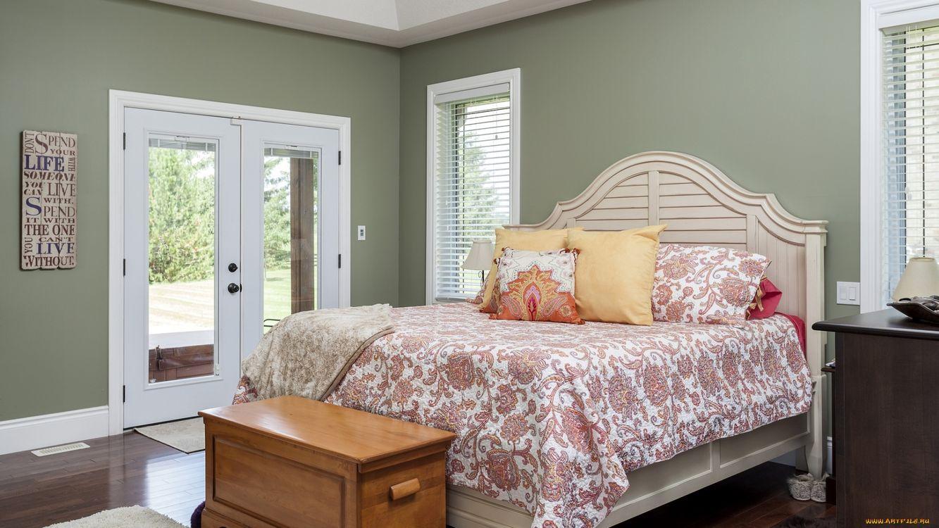 Обои спальня, кровать, окна картинки на телефон