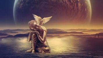 Фото бесплатно статуя, будды, вода