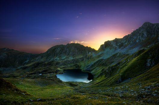 Бесплатные фото Восход солнца,долина,ледник,Fagaras,Румыния,горы,озеро