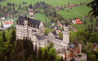 Заставки замок,бавария,на холме,дома,городок,город