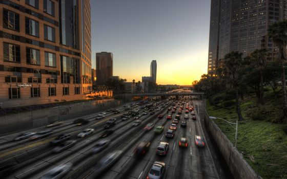 Фото бесплатно автомагистраль, город, дома