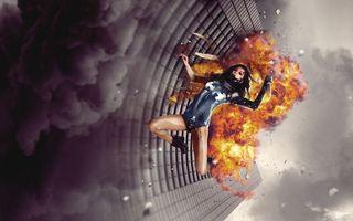 Фото бесплатно девушка, огонь, падение