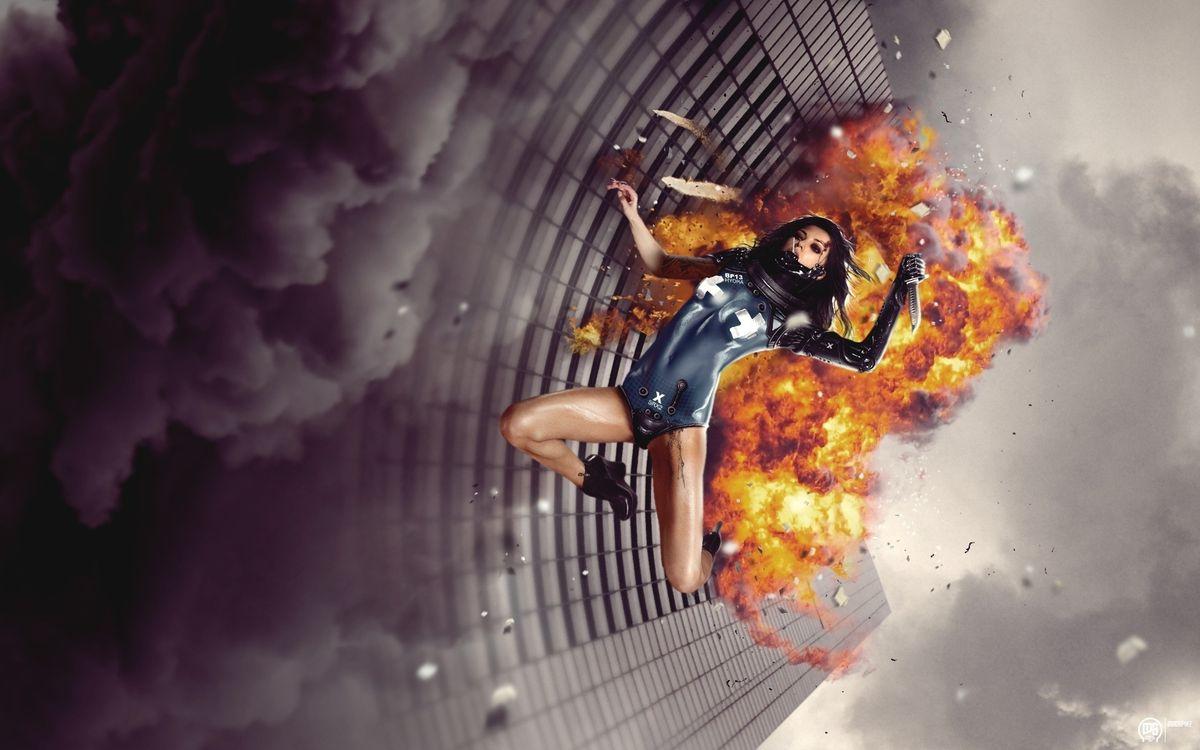 Фото бесплатно девушка, огонь, падение - на рабочий стол