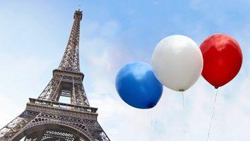 Фото бесплатно эйфелева, башня, шары