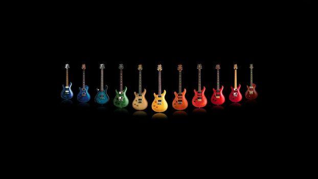 Фото бесплатно гитары, разноцветные, разные