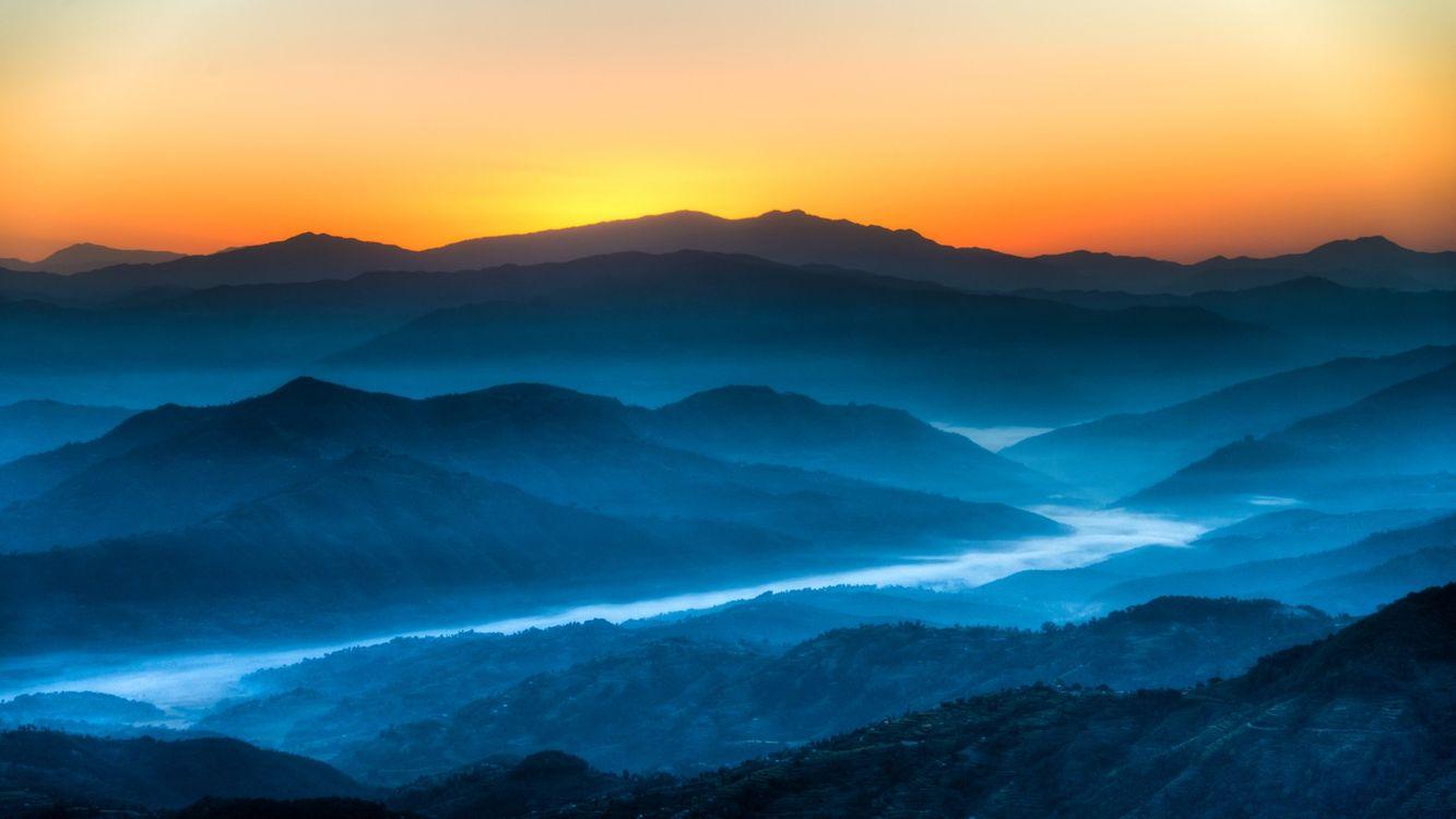 Фото бесплатно холмы, закат, свет - на рабочий стол