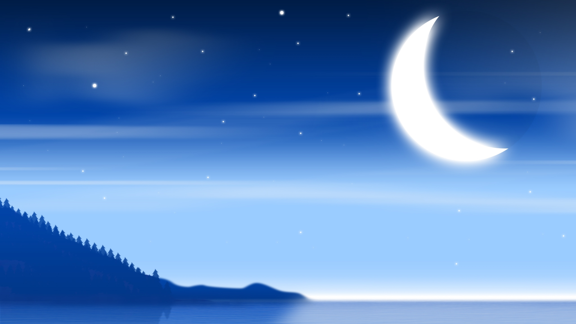 месяц, небо, голубое