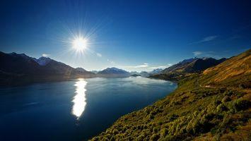 Фото бесплатно небо, солнце, горы