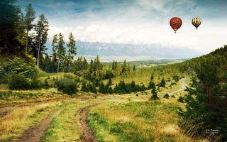 Бесплатные фото поле,луг,воздушный,шар,полет,высота,деревья