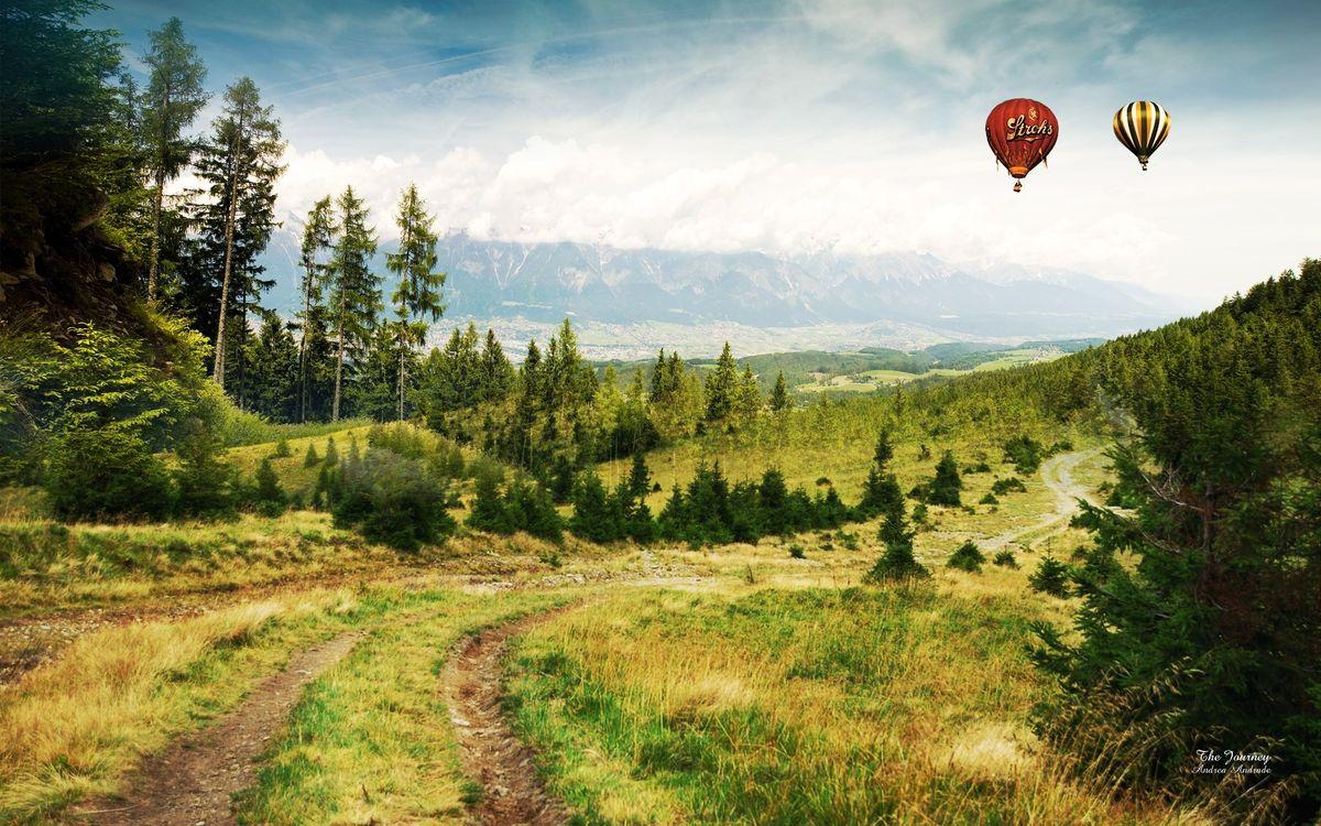 Фото бесплатно поле, луг, воздушный, шар, полет, высота, деревья, дорога, трава, газон, лето, тепло, холмы, небо, облака, голубое, природа, пейзажи, пейзажи - скачать на рабочий стол