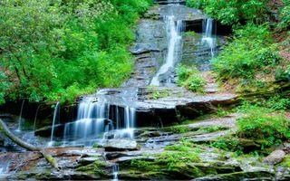 Фото бесплатно река, водопад, камни, мох, деревья, трава, природа