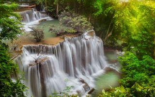 Заставки река, водопад, растительность