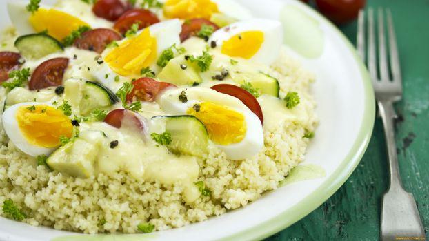 Фото бесплатно рис, яйца, огурец