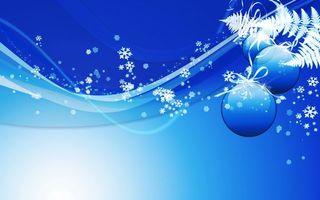Бесплатные фото снежинки,фон,заставка,папоротник,ветка,шарики,синий