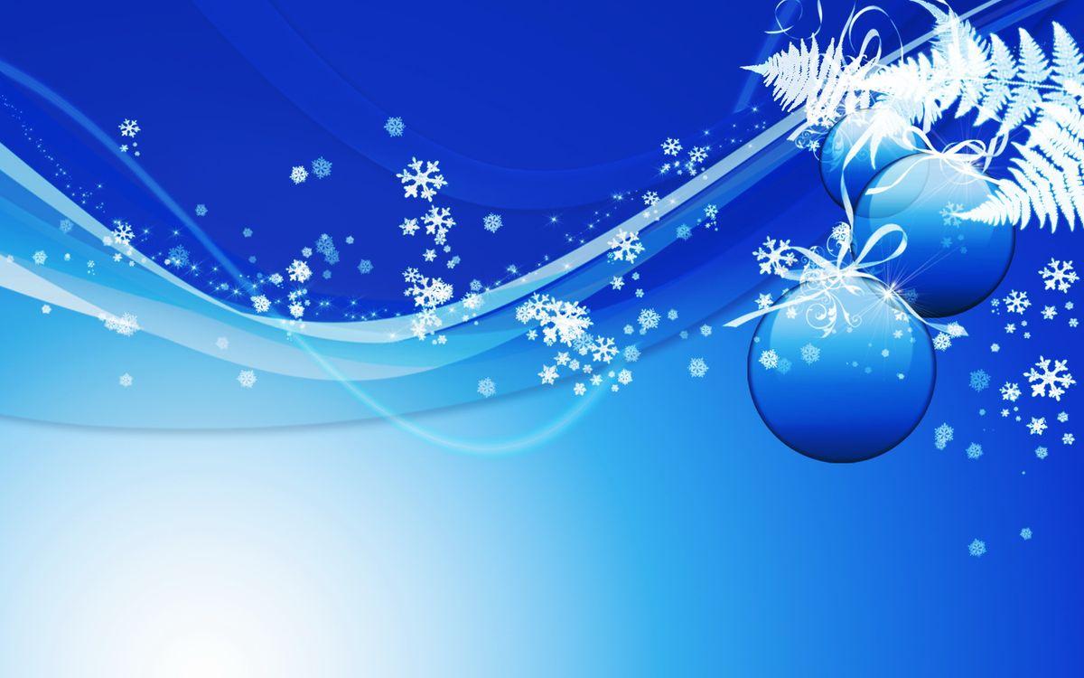 Фото бесплатно снежинки, фон, заставка, папоротник, ветка, шарики, синий, голубой, линии, новый, год, абстракции, новый год, разное, разное