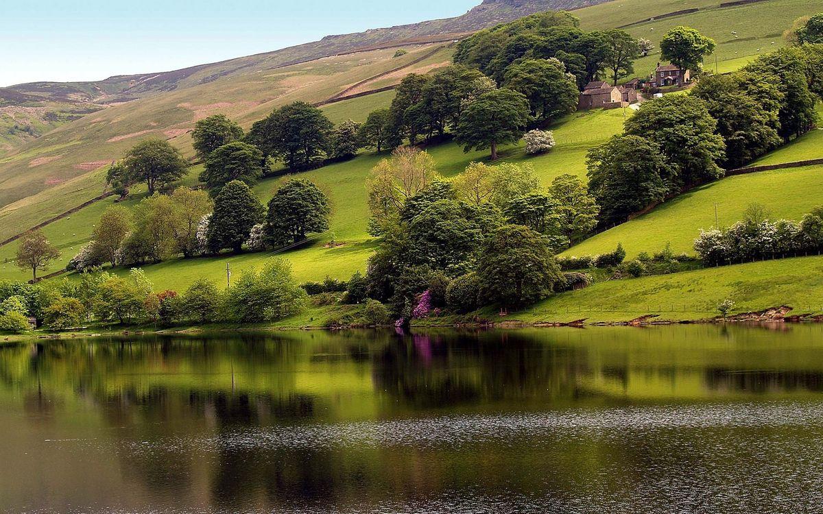 Фото бесплатно вода, река, озеро, деревья, горы, трава, небо, природа, природа