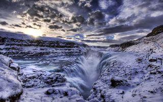 Фото бесплатно водопад, река, снег