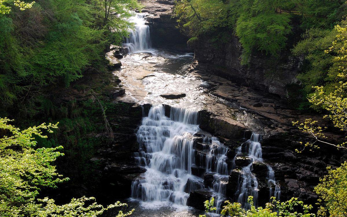Фото бесплатно водопад, камень, река - на рабочий стол