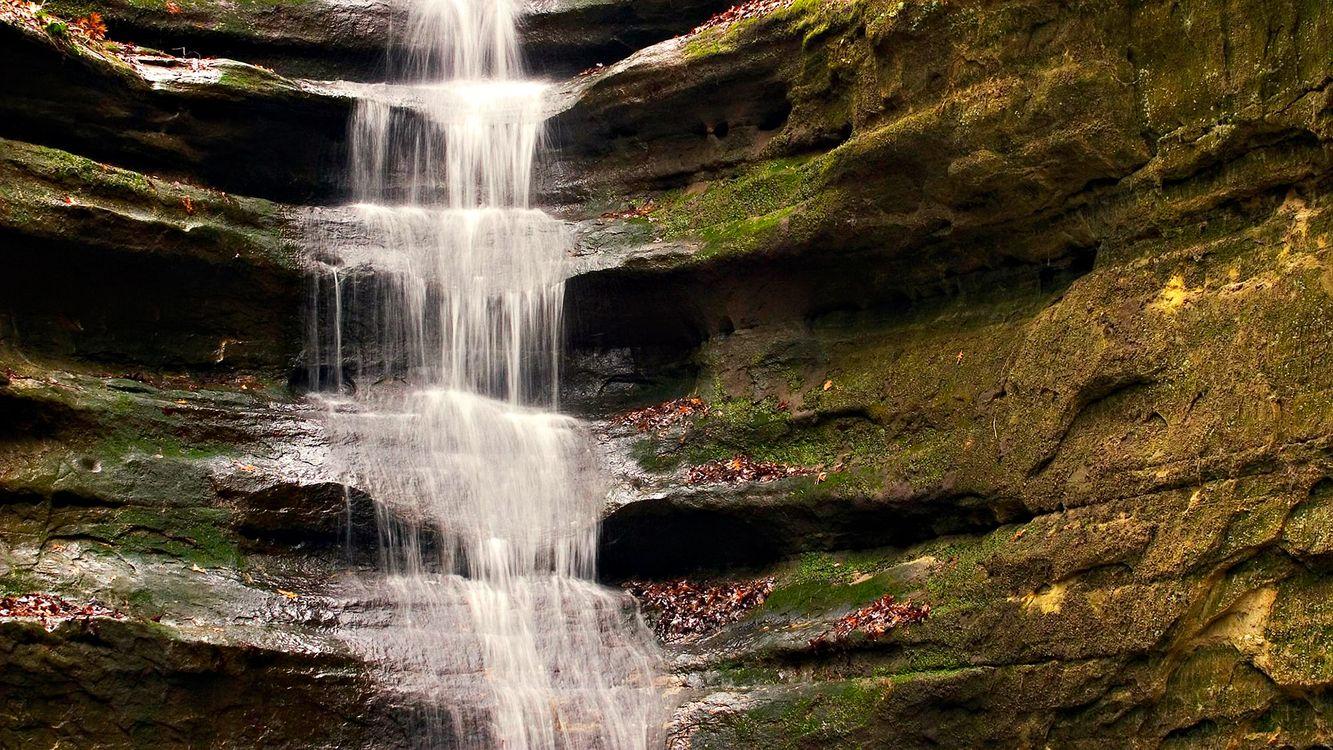 Фото бесплатно водопад, каньон, скала, брызги, мох, природа, природа