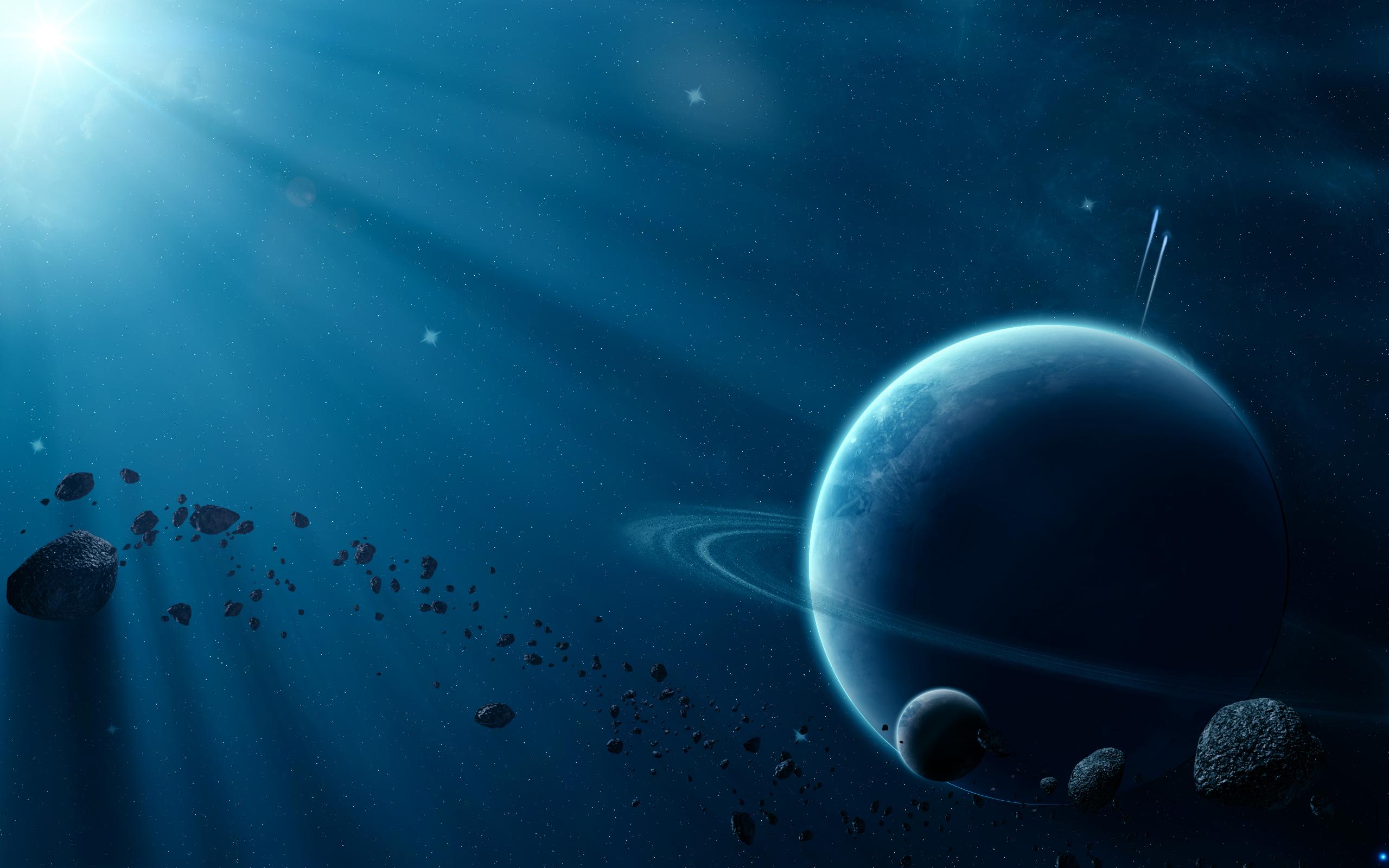 звезда освещает планету, метеориты, астероиды