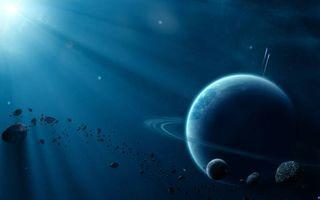 Фото бесплатно звезда освещает планету, метеориты, астероиды