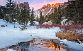 Бесплатные фото лес,река,зима,природа,горы