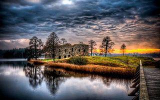 Бесплатные фото дом,небо,тучи,закат,свет,вода,река
