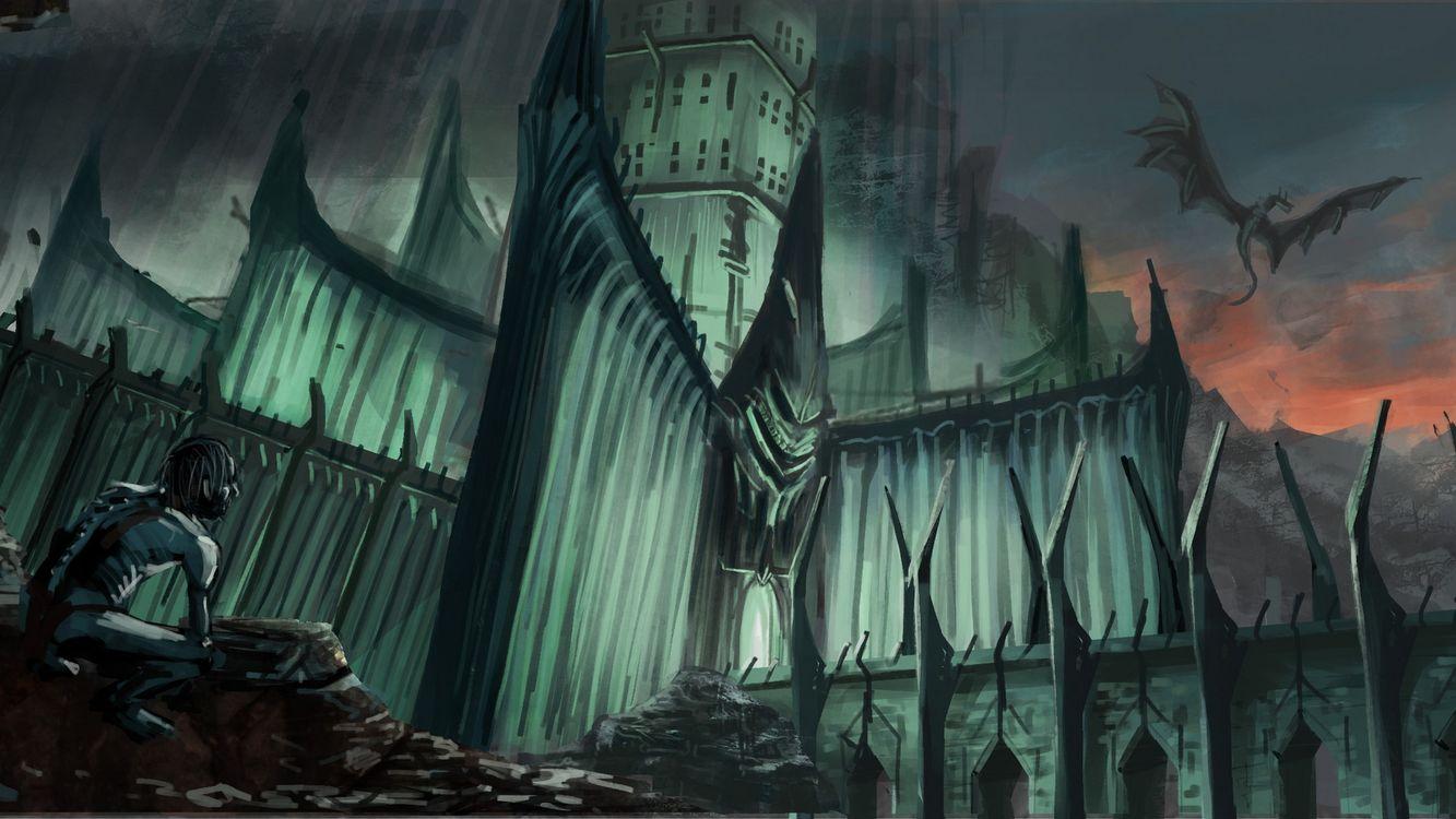 Фото бесплатно дома, здания, летучая мышь, дракон, крылья, окна, человек, хмуро, фантастика, фантастика
