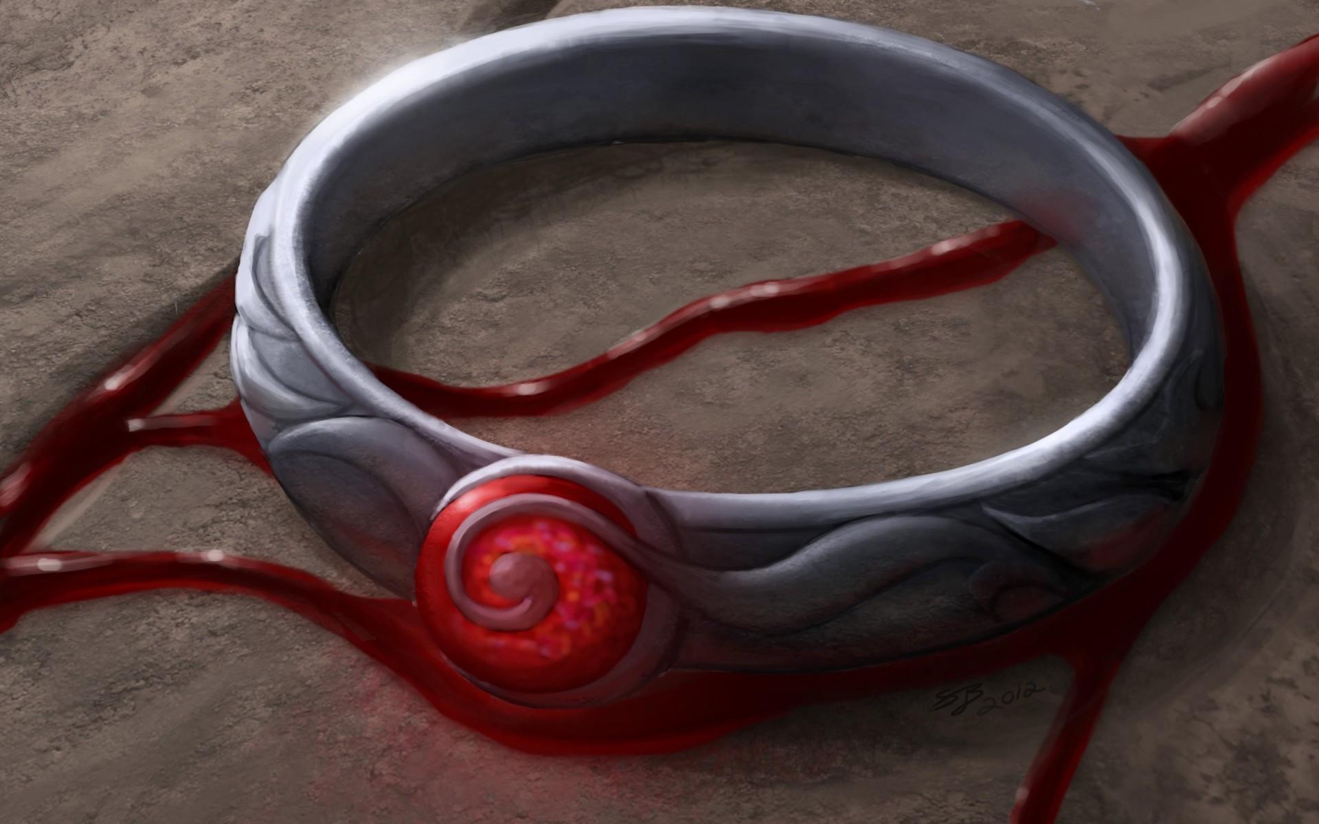 кольцо, камень, красный