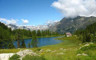 Бесплатные фото лес,облака,трава,листья,горы,небо,вода