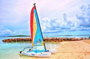 Фото бесплатно море, пляж, яхта, катамаран, пейзажи