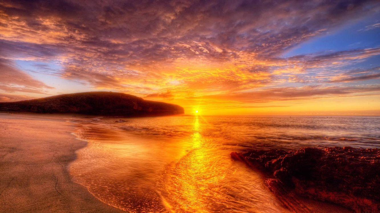 Фото бесплатно море, пляж, закат, природа