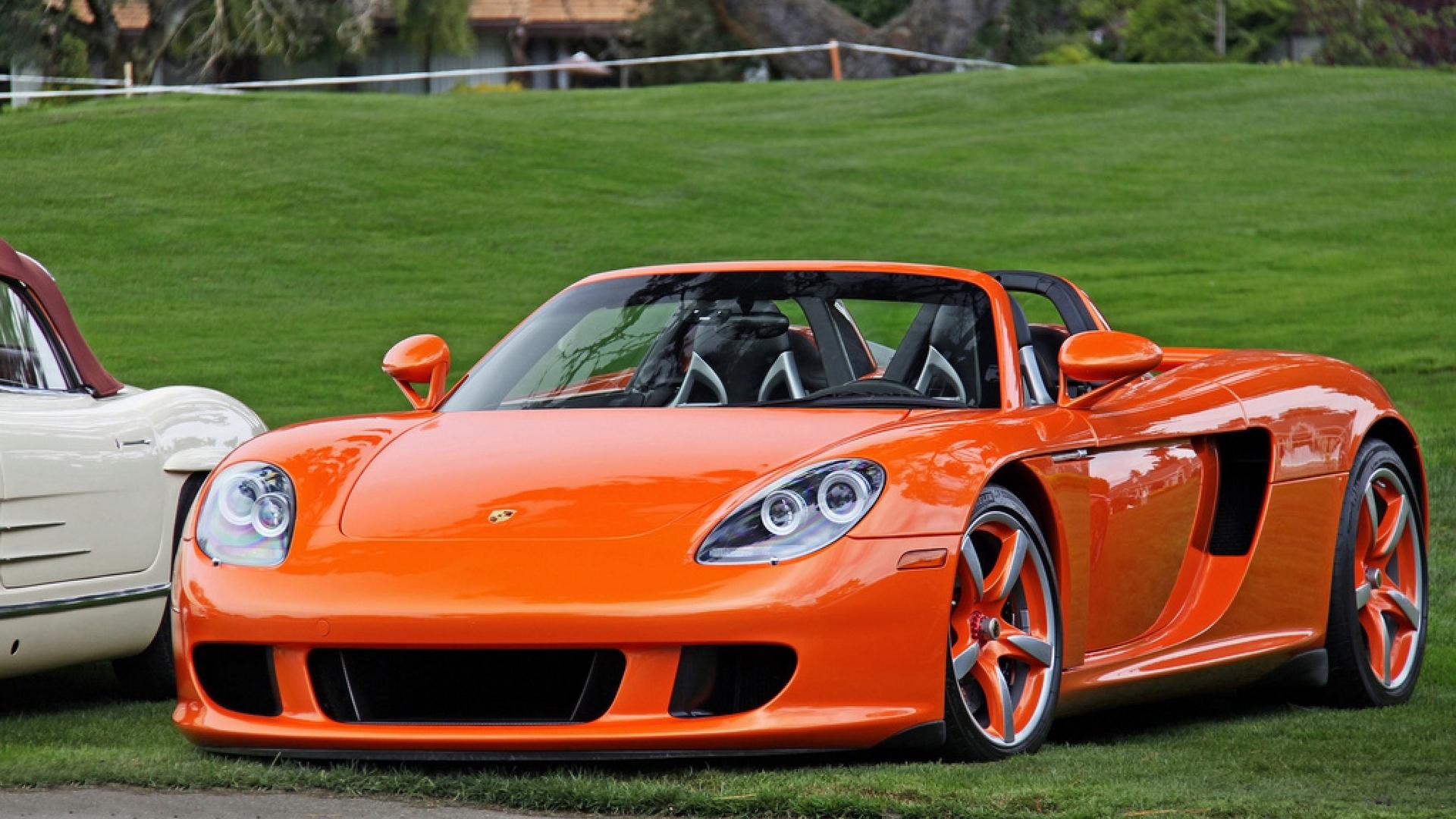 порше, кабриолет, оранжевый