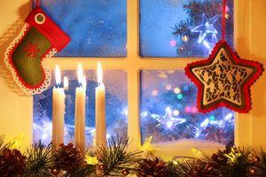 Фото бесплатно окно, новогодние обои, элементы