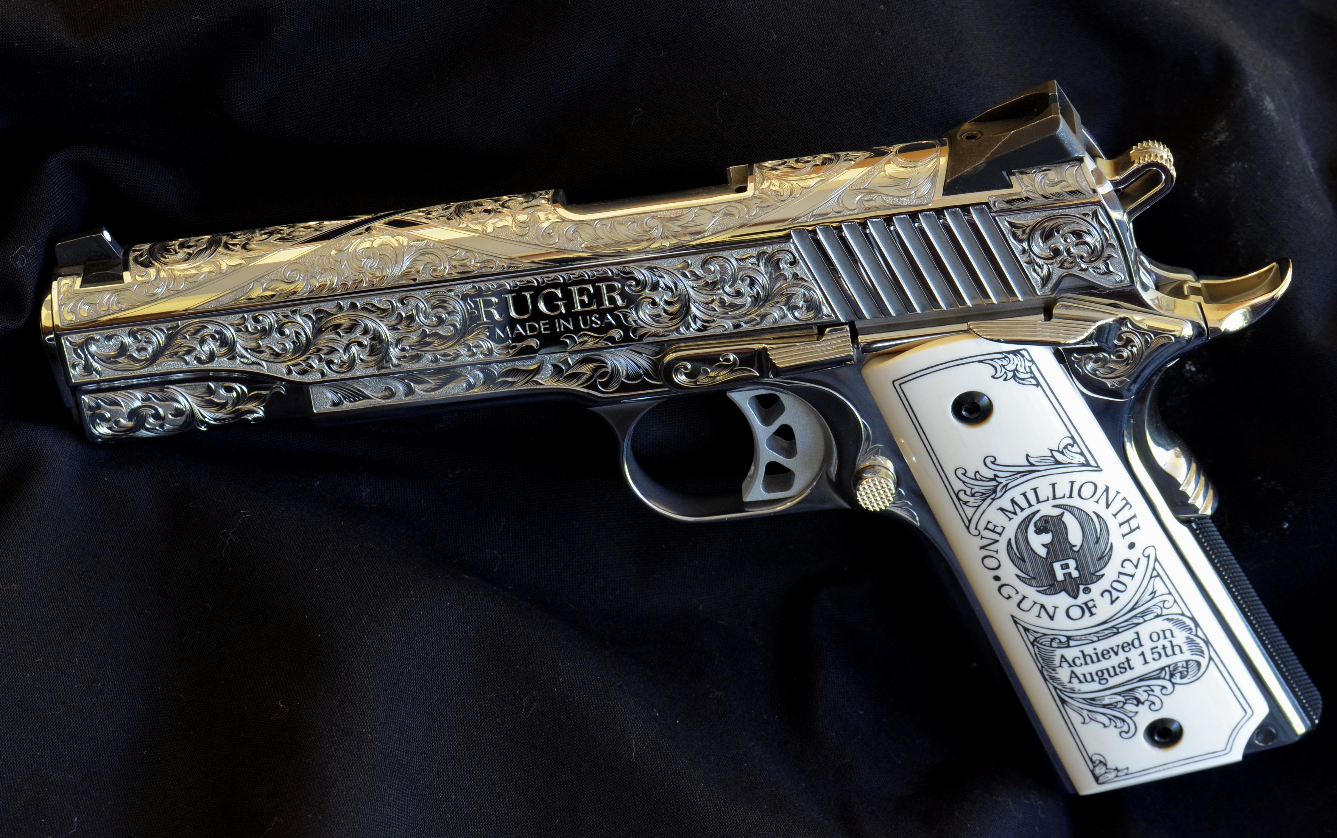 ruger, пистолет, гравировка