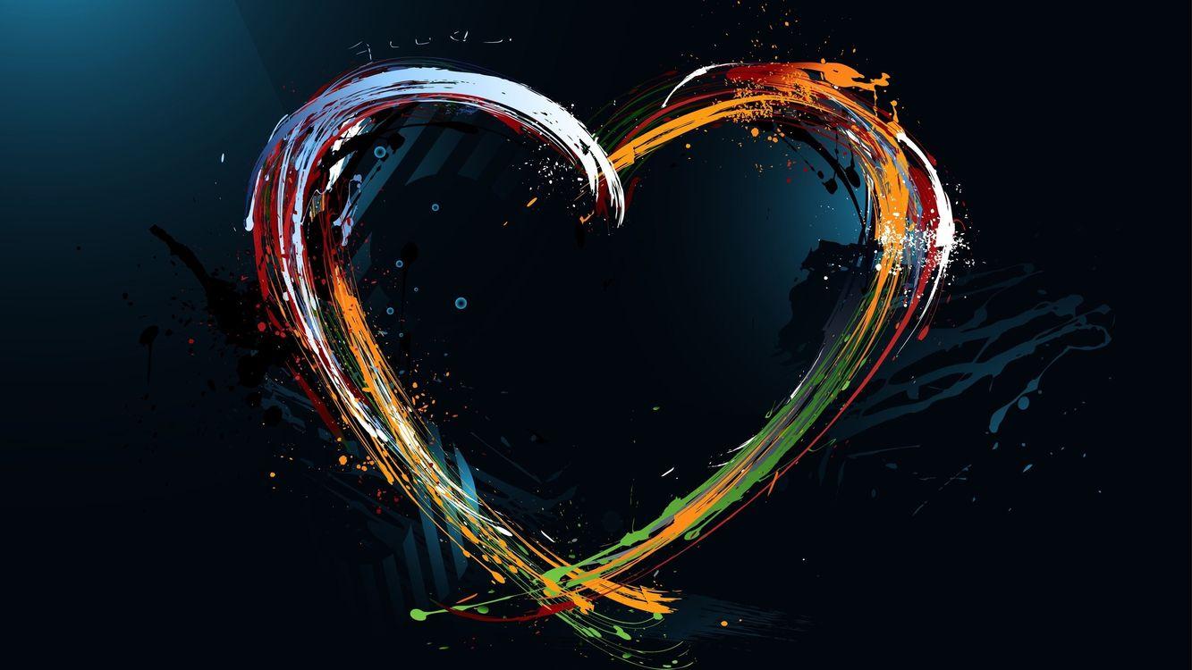 Фото бесплатно сердечко, сердце, краски, цвета, темный, фон, абстракции, абстракции