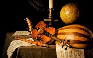 Заставки скрипка,струны,глобус,стол,труба,флейта,ноты