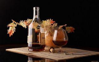 Фото бесплатно виски, бутылка, листья