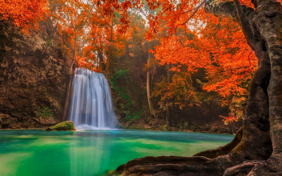Фото бесплатно водопад, река, осень, листва, деревья, камень, природа, природа