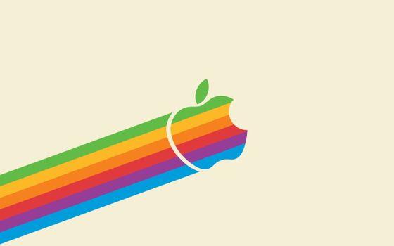 Бесплатные фото заставка,фон,обои,apple,символ,бренд,яблоко,цвета,полоски,радуга,абстракции,минимализм